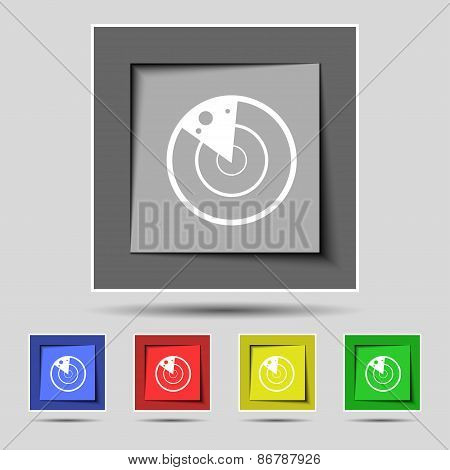 Radar Icon Sign On The Original Five Colored Buttons. Vector