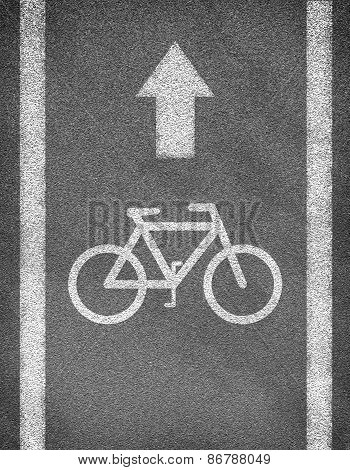 Asphalt road texture with two line and bicycle sign