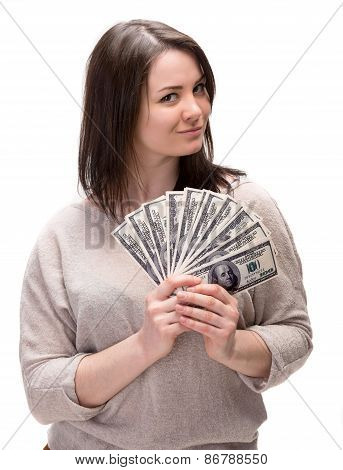 Young Woman With Dollar Cash Money