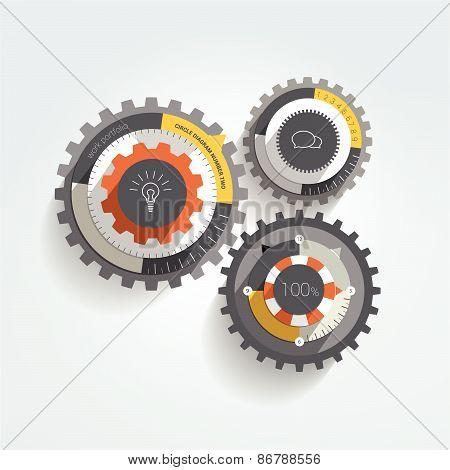 Cogwheel flat infographic diagram.