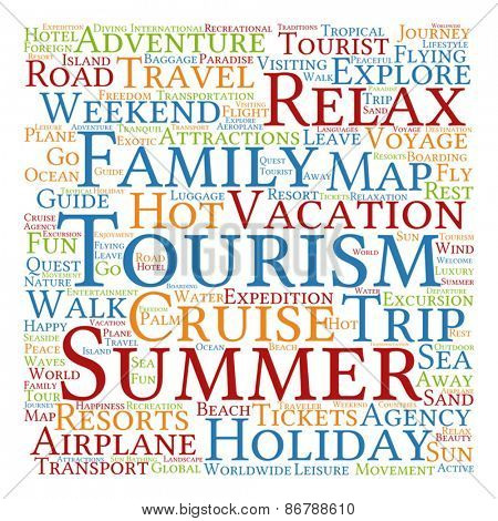Vector concept or conceptual abstract summer travel or tourism wordcloud