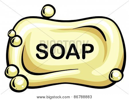Close up bar of soap with bubbles