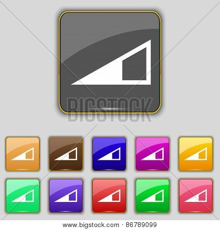 Speaker Volume Icon Sign. Set With Eleven Colored Buttons For Your Site. Vector