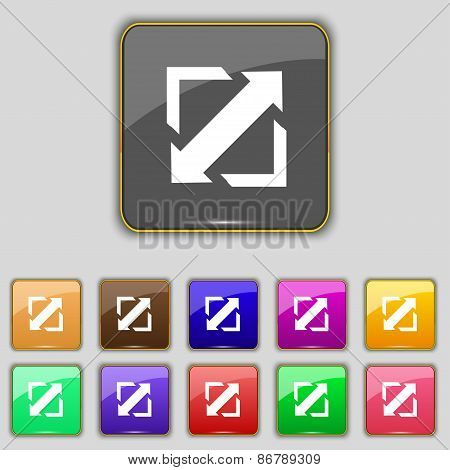 Deploying Video, Screen Size Icon Sign. Set With Eleven Colored Buttons For Your Site. Vector