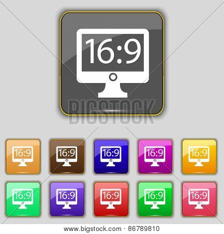 Aspect Ratio 16 9 Widescreen Tv Icon Sign. Set With Eleven Colored Buttons For Your Site. Vector