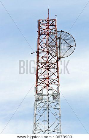Satellite Dish on Telecommunication Radio antenna Tower