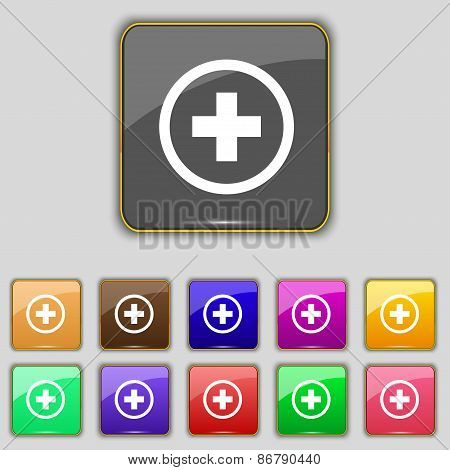 Plus, Positive, Zoom Icon Sign. Set With Eleven Colored Buttons For Your Site. Vector