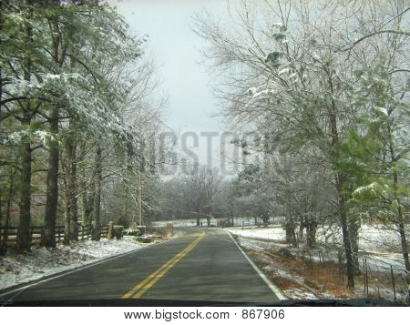 Driving Down  A Snowy Road