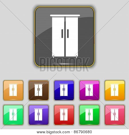 Cupboard Icon Sign. Set With Eleven Colored Buttons For Your Site. Vector