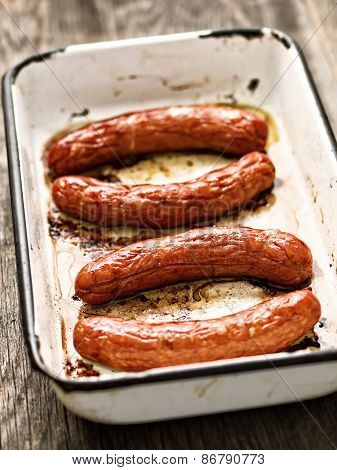 Tray Of Rustic Roasted Sausages