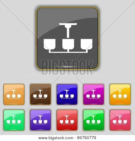 Chandelier Light Lamp  Icon Sign. Set With Eleven Colored Buttons For Your Site. Vector