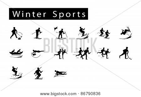 A Mega Set Of 15 Winter Sport Icons