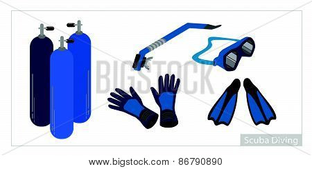 Set Of Underwater Diving Equipment On White Background