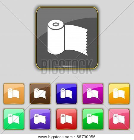 Toilet Paper, Wc Roll Icon Sign. Set With Eleven Colored Buttons For Your Site. Vector