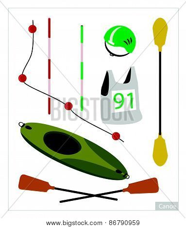 Set Of Canoe Or Kayak Equipment On White Background