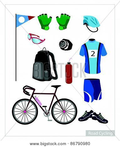 Set Of Road Cycling Equipment On White Background