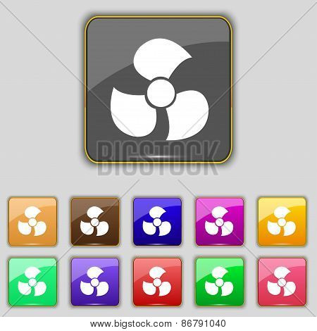 Fans, Propeller Icon Sign. Set With Eleven Colored Buttons For Your Site. Vector