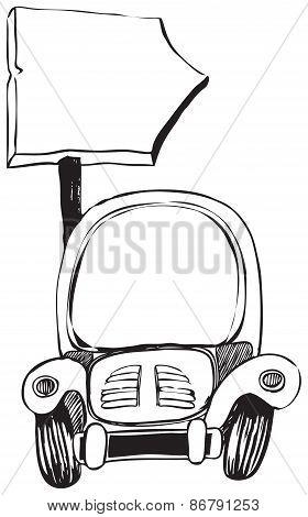 Cartoon Car With A Signpost
