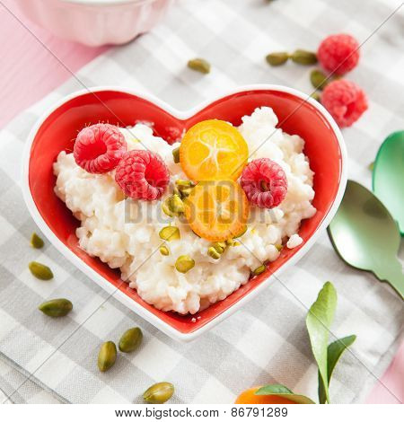 Rice Pudding With Raspberries