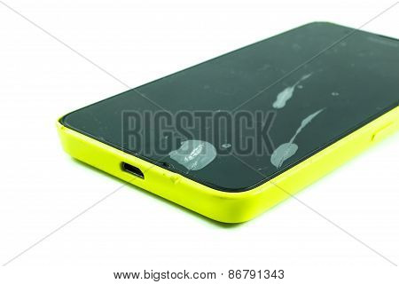 mobile phone with a broken screen