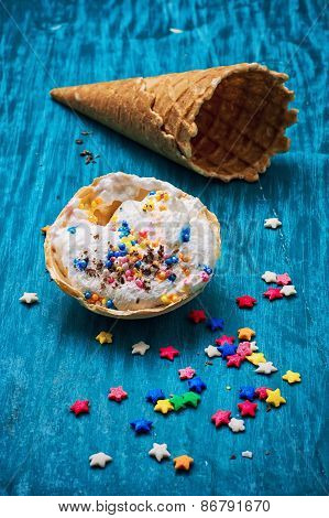 Ice Cream Decorated With Sweet Powder In The Wafer
