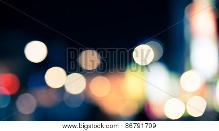 Defocused Blur Bokeh Of City At Night