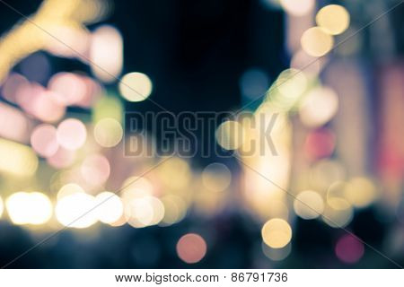 Bokeh Of City At Night In  Split Tone Abstract Background