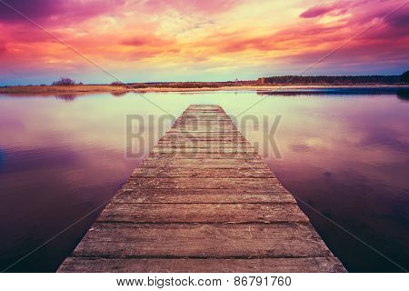 Old Wooden Pier. Calm River