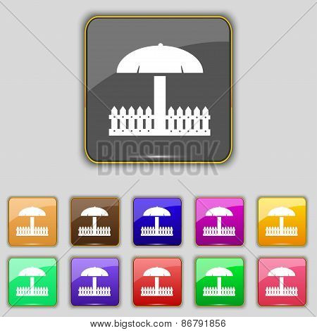 Sandbox Icon Sign. Set With Eleven Colored Buttons For Your Site. Vector