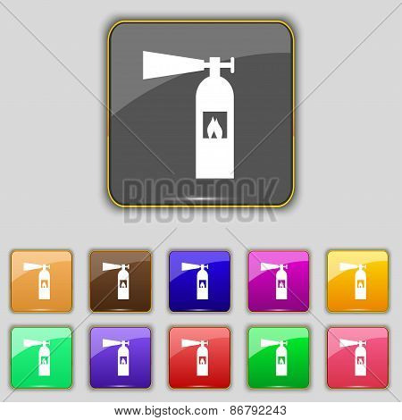 Fire Extinguisher Icon Sign. Set With Eleven Colored Buttons For Your Site. Vector