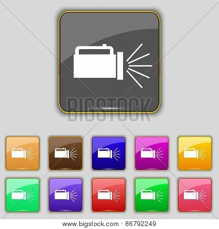 Flashlight Icon Sign. Set With Eleven Colored Buttons For Your Site. Vector