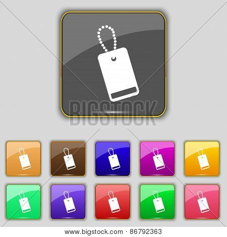Army Chains Icon Sign. Set With Eleven Colored Buttons For Your Site. Vector
