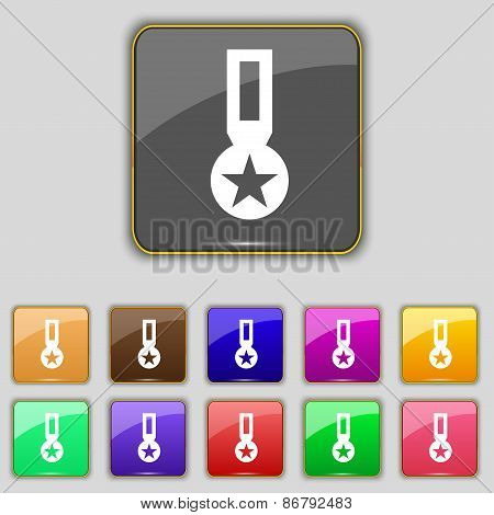 Award, Medal Of Honor Icon Sign. Set With Eleven Colored Buttons For Your Site. Vector