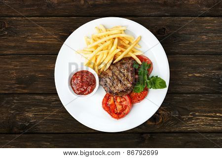 Restaurant Food - Beef Grilled Steak With French Fries