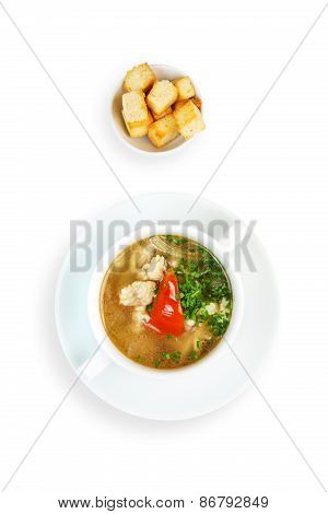 Restaurant Food Isolated - White Fish Soup With Croutons