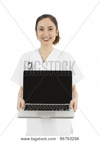 Friendly Medical Doctor Or Nurse Showing A Laptop With Copy Space