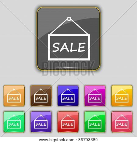 Sale Tag Icon Sign. Set With Eleven Colored Buttons For Your Site. Vector