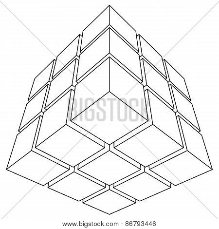 Wireframe mesh outline cube.