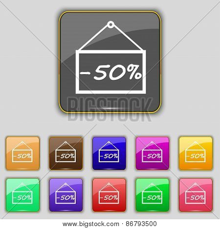 50 Discount Icon Sign. Set With Eleven Colored Buttons For Your Site. Vector