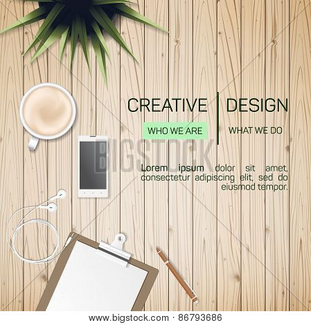 Flat Style Modern Design Concept of Creative Office Workspace