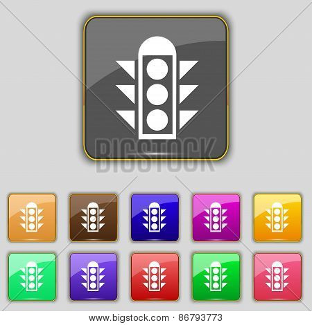 Traffic Light Signal Icon Sign. Set With Eleven Colored Buttons For Your Site. Vector