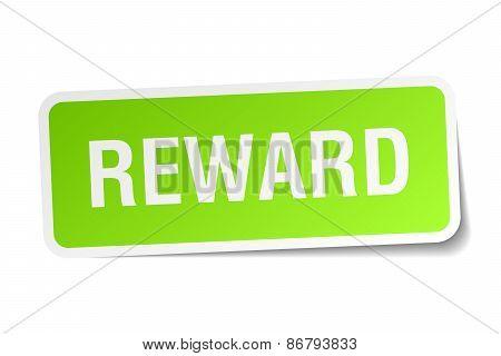 Reward Green Square Sticker On White Background