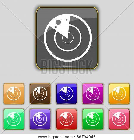 Radar Icon Sign. Set With Eleven Colored Buttons For Your Site. Vector