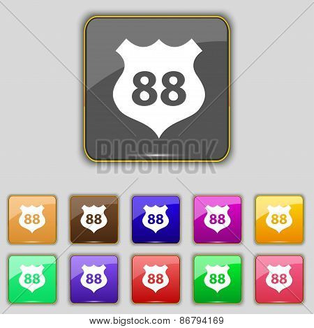 Route 88 Highway Icon Sign. Set With Eleven Colored Buttons For Your Site. Vector