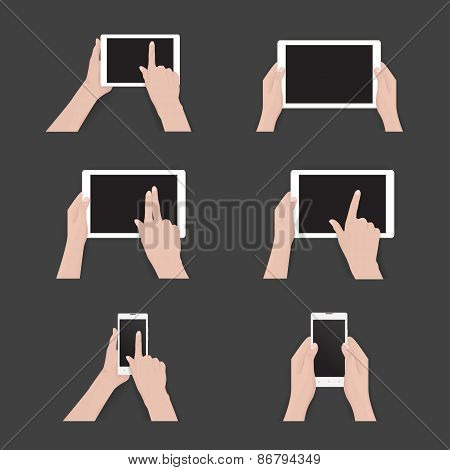 Vector set of commonly used multi-touch gestures for tablets or smartphone. Black tablet, smartphone