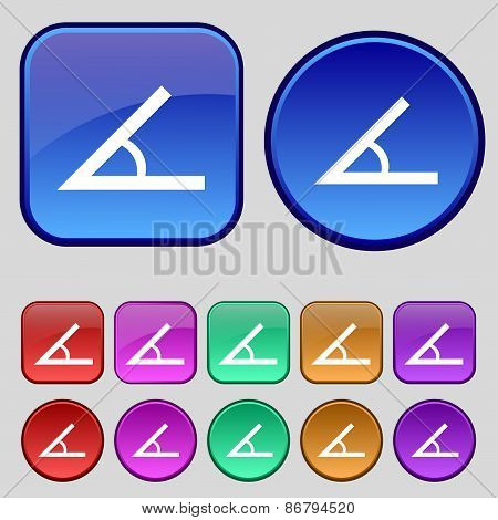 Angle 45 Degrees Icon Sign. A Set Of Twelve Vintage Buttons For Your Design. Vector