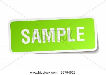 Sample Green Square Sticker On White Background