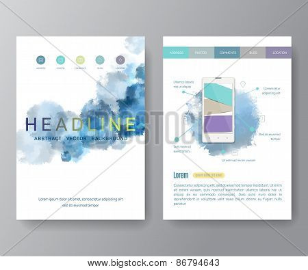 Abstract Aquarelle Background for Business Flyers, Posters and Placards. Mobile Technologies Concept