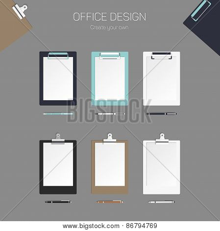 Vector clipboard with paper and pen, set for design