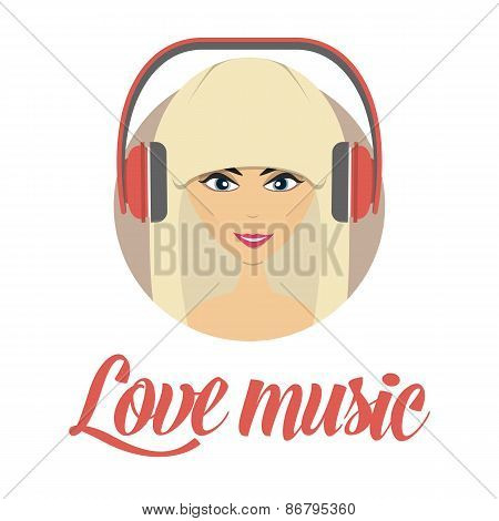 Smiling young girl listening music avatar, isolated on a white background, simplicity cartoon flat s